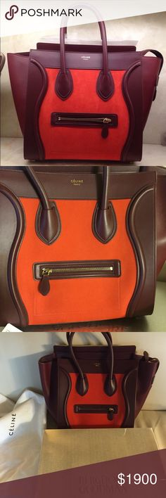 Celine Tricolor Mini Luggage Winter 2014 Collection With tags and gift receipt With dustbag With box from Bergdorf Goodman New York Rarely used and excellent condition.                      Vermilion red nubuck leather Celine Bags Totes