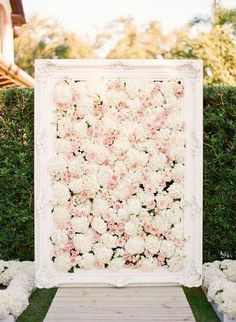 blush and white wedding flower ceremony idea via KT Merry