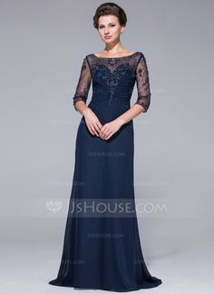 Mother of the Bride Dresses - $160.49 - A-Line/Princess Scoop Neck Sweep Train Chiffon Tulle Mother of the Bride Dress With Beading (008025695) http://jjshouse.com/A-Line-Princess-Scoop-Neck-Sweep-Train-Chiffon-Tulle-Mother-Of-The-Bride-Dress-With-Beading-008025695-g25695