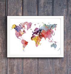 World map Rainbow Watercolor | Printable wall art | Printable Geography cartography wall art | Printable watercolor world map