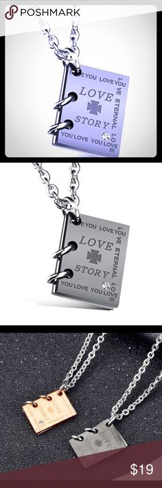 """Was $19!!  Love Story Book 📚 Charm, opens 💖💕💜💞Wonderful Valentines Day 💜💕💘💝This is a solid weighty little charm that actually opens like a spiral notebook.  This is for one gunmetal charm on a shiny Sterling Silver 18"""" Necklace- only one available💜💞💕💖💓💗💜💝 Jewelry Necklaces"""
