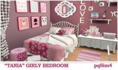 """PQSims4: """"Tania"""" Girly Bedroom • Sims 4 Downloads"""