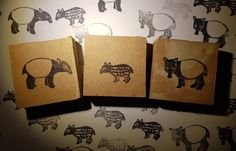 tapirfamilie_stempel Paper Shopping Bag, Wood Carvings, Stamps