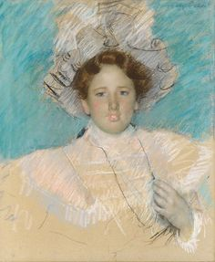 """Adaline Havemeyer in a White Hat"" (Probably begun in 1898), by American artist - Mary Cassatt (1844-1926), Pastel on wove paper, mounted on canvas; 25 1/2 x 20 in. (64.8 x 50.8 cm.), Gift of members of the family of Adeline Havemeyer Frelinghuysen, 1992; 1992.235; On view in Gallery 769 ~ The Metropolitan Museum Of Art - New York, New York, USA."
