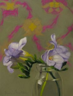 Diane Hoeptner: Freesias on Pattern floral still life painting