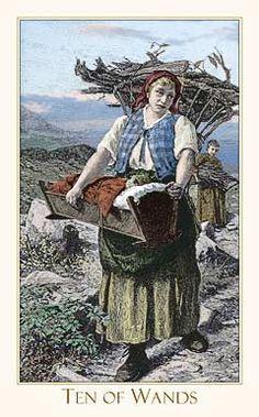 Victorian Romantic Tarot, Ten of Wands