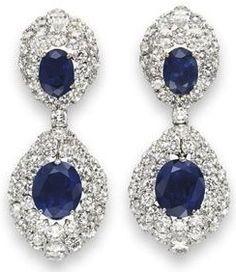 A pair of sapphire and diamond ear pendants by Harry Winston Buy Diamond Ring, Diamond Earing, Diamond Jewelry, Sapphire Diamond, Gems Jewelry, Jewelry Accessories, Fine Jewelry, Jewellery, Titanic Jewelry