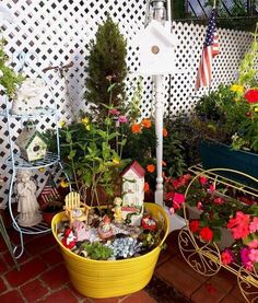 fairy garden in a beverage tub, gardening, outdoor living, repurposing upcycling, Vignette in the one corner of my Patio in my small yard