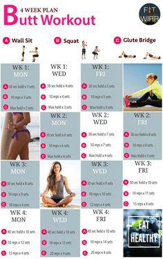 4 Week Butt Lift Bodyweight Workout Challenge. Beginner's Bodyweight Butt Lift Workout Routines to Your Brazilian Bodacious Booty - www.fitwirr.com: