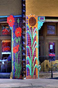 Street Art- Cafe in Palouse, Washington Mosaic Wall, Mosaic Glass, Mosaic Tiles, Stained Glass, Glass Art, Mosaic Bathroom, Mosaic Crafts, Mosaic Projects, Graffiti