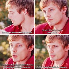 This scene though. It's basically Arthur on a date with Gwen telling her that he dreams of running away with Merlin. Way to be subtle, Arthur!