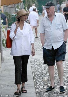 Shakira Caine [and Michael] in Portafino, illustrating the perfection of a white shirt