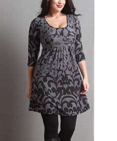 Look what I found on #zulily! Charcoal Floral Empire-Waist Tunic - Plus #zulilyfinds