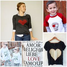 DIY Valentine shirt tutorials for the whole family! Nothing frilly and dated…