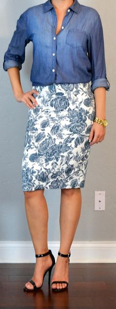 Outfit Posts: outfit post: chambray button down shirt, blue floral pencil skirt, black heeled sandals