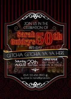 Moulin Rouge Themed Birthday Invitation 30th 40th 50th by Wooem