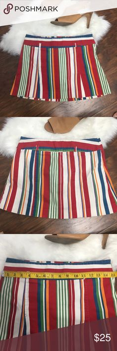 Zara Basics Stripped Mini Skirt Retro looking striped mini skirt Measurements: hips: 15in                         length: 12.5 in Would be cute with a white top and oversized sunnies! 🕶🌞  Check out the rest of my closet 😊 Zara Skirts Mini