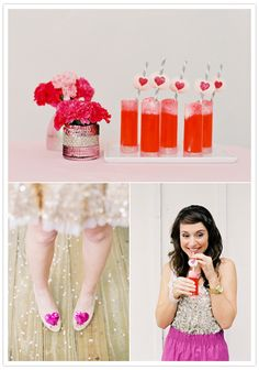 Love heart straw decor - hand stamp or print hearts onto card, punch holes and insert straws. (and glitter heart shoe clips)