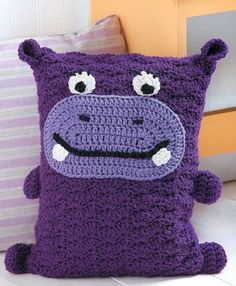 No one can resist hugging the fun characters in Kid's Animal Pillows! Each has a lovable face, and some even have tails, feet, and other features. These whimsical pillows make great decorative acc Crochet Home, Cute Crochet, Crochet For Kids, Crochet Baby, Crochet Cushions, Crochet Pillow, Crochet Squares Afghan, Crochet Patterns For Beginners, Animal Pillows