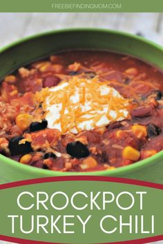 Do you need a delicious and hearty Turkey Chili Crock Pot recipe that will fill your belly but keep your waistline in check? This healthy and easy turkey chili recipe requires only 30 minutes of prep time, so it's great for hectic weekdays. Simply dice an onion and two bell peppers, brown a lb. of ground turkey, then throw all the remaining ingredients into a slow cooker. Your comfort food dinner will be ready in no time. #turkeychilicrockpot #turkeyrecipes #chilirecipecrockpot… Chili Recipes, Crockpot Recipes, Easy Homemade Snacks, Easy Turkey Chili, Dinner Recipes, Snack Mix Recipes, Ground Turkey, Crock Pot, Onion