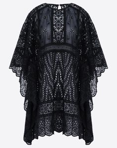 Valentino Poncho Dress In Broderie Anglaise Lace