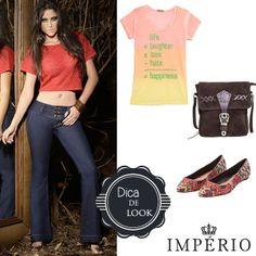 Para o verão, combine a sua flare Império Jeans com sapatilhas e camisetinha no estilo Boho, fica um arraso!