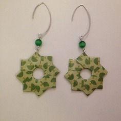 """Boucles d'oreilles """"rosace"""" origami vertes"""
