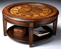 Heritage Clock Inlay Cocktail Table w Glass Insert Top