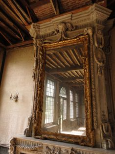 Stone mantel with old world mirror the perfect mix Old Buildings, Abandoned Buildings, Abandoned Places, Abandoned Property, Abandoned Mansions, Ivy House, Through The Looking Glass, Old Houses, Old World
