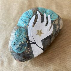 Blue Leaves, Gold Stars, Painted Rocks, Instagram Posts, Cape Town, Painting, Painting Art, Painted Pebbles, Paintings