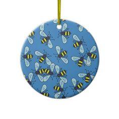 Bee Wallpaper Christmas Tree Ornaments