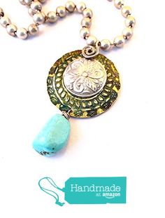 Ma'at Patina Round Medallion Necklace with Turquoise Nugget and Silver Chunky Ball Chain by BANDANA GIRL from BANDANA GIRL http://www.amazon.com/dp/B017M8FP20/ref=hnd_sw_r_pi_awdo_Wfgpwb0THG9H2 #handmadeatamazon