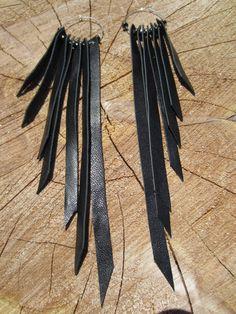Hematite Leather Fringe Earrings Urban Warrior Long Chandelier Dangle Bohemian Jewelry
