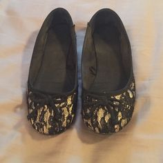 Black/gold lace ballet flats size 7 Gold with black lace ballet flats. Size 7 from New York and company. Really pretty! And comfortable. Worn probably 10x but in good condition. New York & Company Shoes Flats & Loafers