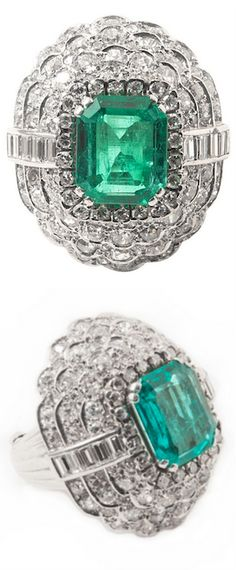 *An Art Deco platinum diamond and emerald ring, Brilliant-cut diamond, baguette-cut diamond, natural emerald weighting 4,5 carat. France, 1930.