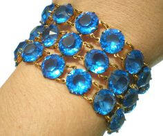 Art Deco Bright Blue Glass Wide Bracelet with Large by RibbonsEdge