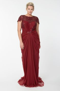 Tulle Draped Cap Sleeve Gown with Paillette Detail in Merlot | Tadashi Shoji Fall / Holiday Plus Size Collection