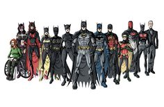 Oracle/Batgirl I, Huntress/Batgirl II, Batwoman, Batgirl IV/Spoiler/Robin IV, Batgirl III/Black Bat, Catwoman, Batman I, Batman III/Nightwing/Robin I, Red Robin/Robin III, Robin V, Red Hood II/Robin II, Batman V, Alfred Pennyworth/Alfred Beagle.