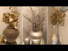 METALLIC GOLD ACCENTS || 2020 FALL Decorating Ideas Using THRIFT STORE Items - YouTube Vase Crafts, Gold Vases, Gold Diy, Diy Crafts For Gifts, Vases Decor, Gold Accents, Thrifting, Fall Decorating, Metallic Gold