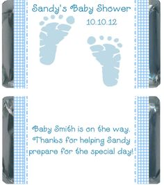 Blue Baby Feet Baby Shower Miniature Hershey Bar Favors   Personalized Candy Wrappers & Unique Favors for all Occasions