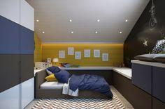 Jungenzimmer mit ausreichend Stauraum in ansprechenden Farben