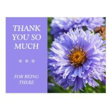 Beautiful Purple Floral Thank You Postcard - All text can easily be customised - #postcards #thankyou #thanks #flower #zazzlemade (affiliate link)