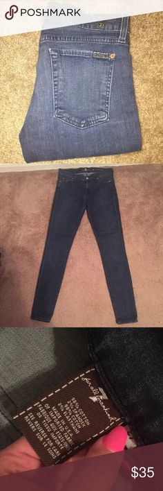 7 for all mankind skinny jeans size 27 7 for all mankind skinny jeans  Dark wash  Size 27  No flaws in very good condition  Has some stretch  Inseam 29 Hip to bottom pant leg 37 Make me and offer no lowballers pleaseee 7 For All Mankind Jeans Skinny