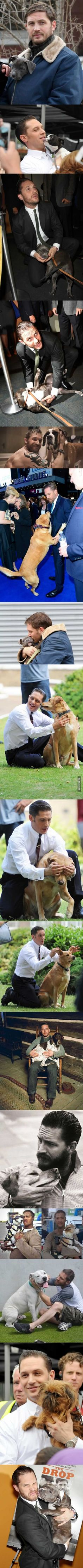 Tom Hardy with Dogs