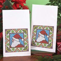 Herrschners® Merry Santa Towel Pair Stamped Cross-Stitch