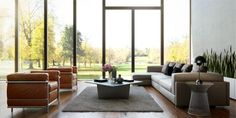 Sharben3D- neutral living with windowed wall of oriental lines