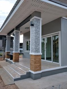 Modern Bungalow House Design, House Balcony Design, Minimal House Design, House Outside Design, Bungalow House Plans, House Front Design, Small House Design, Modern House Plans, House Architecture Styles