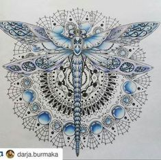 Ideas tattoo mandala butterfly dragon flies for 2019 Mandala Flower Tattoos, Butterfly Mandala, Butterfly Dragon, Dragonfly Tattoo Design, Dragonfly Art, Flower Tattoo Designs, Dragonfly Drawing, Mandala Nature, Mandala Art