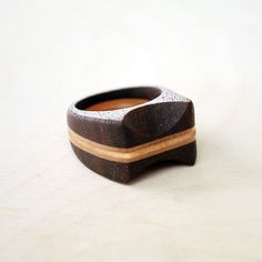 Wood Ring Walnut and Birch Ring Wooden Ring by theredbirdshop