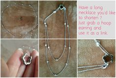 How to shorten a necklace with an earring. A neat trick.